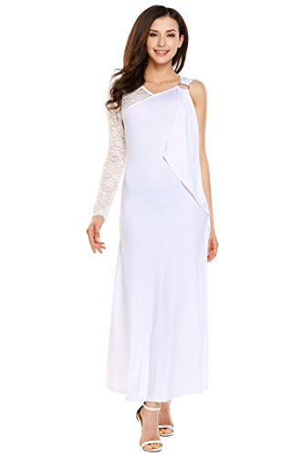 ANGVNS Womens Long Sleeveless Sexy Summer Vintage Lace Cocktail Gown Maxi Dress White S
