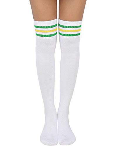 (HDE Women Three Stripe Over Knee High Socks Extra Long Athletic Sport Tube Socks (White w/Green/Yellow Stripes))