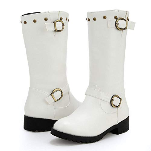 Half Coolcept Heel On Women White Boots Pull Fashion Low xwqg14