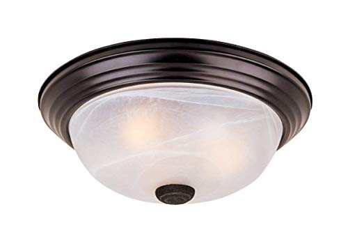 (Westinghouse Lighting Two-Light Flush-Mount Interior Ceiling Fixture, Sienna Finish with Embossed Floral and Leaf Design Glass (Oil-rubbed Bronze))