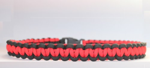 SENC 550 Military Spec Paracord Survival Dog Collar - Red/Black (21