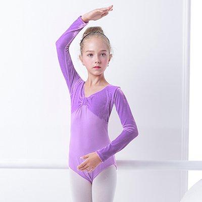 6f79990a2450 Image Unavailable. Image not available for. Color: Embiofuels(TM) New  Arrival Child Kid Velvet Cotton Gymnastics Leotard Long Sleeve Ballet Dance