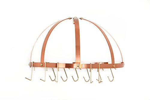 "Old Dutch Half-Round Pot Rack with Grid & 12 Hooks, Copper, 22"" x 11"" x 12"""