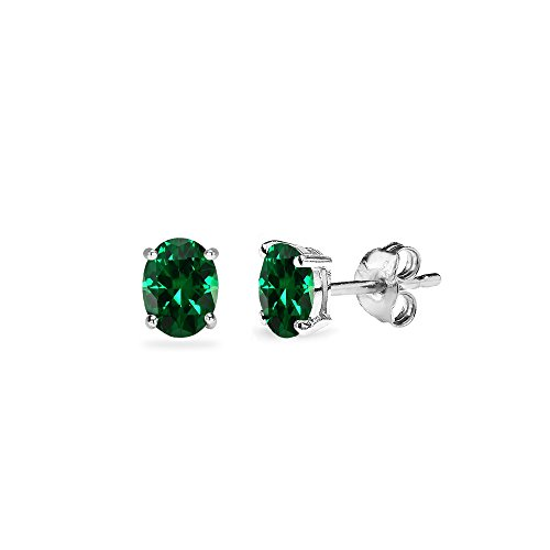 Oval 5x3mm Emerald (Sterling Silver Simulated Emerald 5x3mm Oval-Cut Solitaire Stud Earrings)