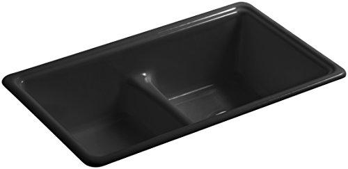 KOHLER K-5838-7 Deerfield Top-Mount/Undermount Smart Divide Double-Equal Bowl Kitchen Sink, (Black Deerfield Kitchen Sink)
