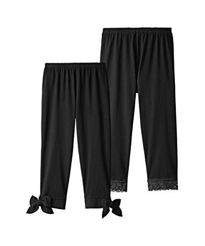 レンダーぶどう定期的な[nissen(ニッセン)] レギンス 7分丈 綿混 裾デザイン セット 2枚組 大きいサイズ レディース