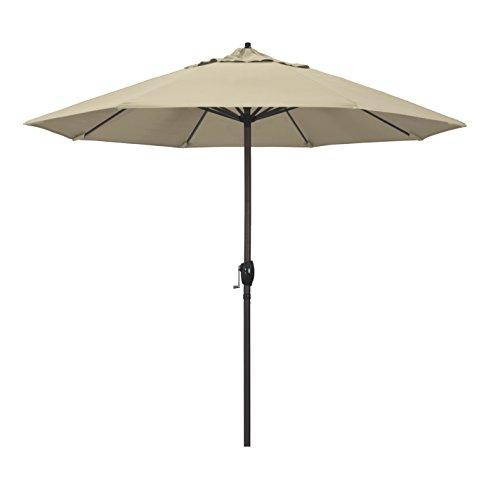 California Umbrella 9' Round Aluminum Market Umbrella, Crank Lift, Auto Tilt, Bronze Pole, Sunbrella Antique Beige