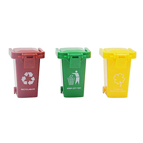 Blomiky 3 Trash Can Toy,Garbage Truck's Trash Cans,Mini Curbside Vehicle Garbage Bin Trashcan for Kids 3 Garbage Mini Cans ()