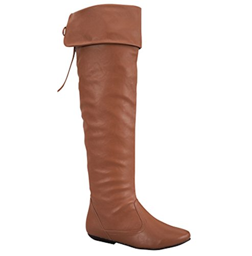 Women's Thigh High Faux Leather Lace Up Boots in White, Brown, Tan, Black (8, Tan) by La Bella Fashion