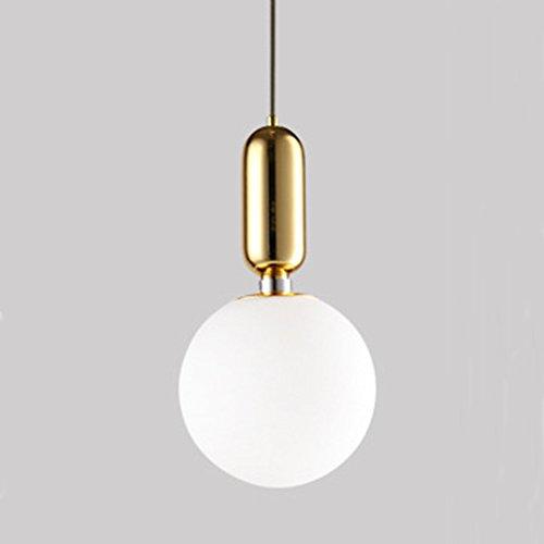 or 30CM MZStech Lampada sferica classica di pendente di vetro Luce creativa singola Luce soffice di lampada di vetro (30CM, or)