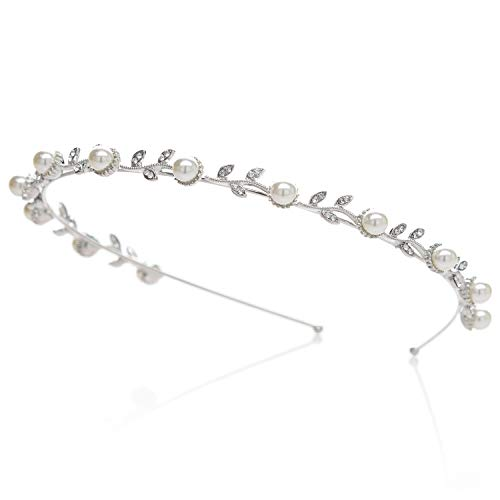 SWEETV Pearl Silver Bridal Headband-Single Hair Band Tiara Flower Wedding Headpiece Jewelry Bridal Hair Accessoires for Women