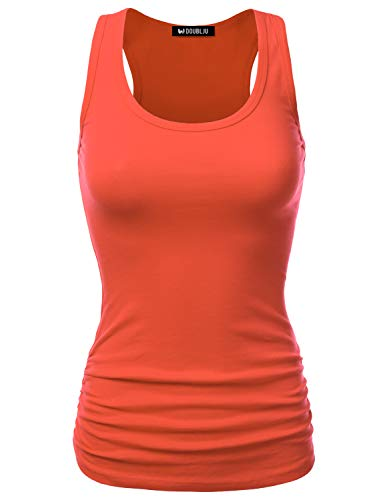 (Doublju Womens Stretch Ruched Racerback Tank Top with Plus Size Coral 1X)