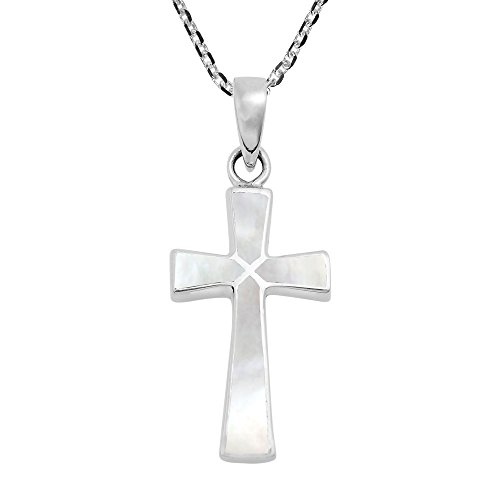 AeraVida Minimalism Christian Cross White Mother of Pearl .925 Sterling Silver Pendant Necklace