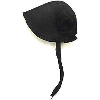 58b0633db8f79 100% Black Cotton Prairie Pilgrim Amish Bonnet Large Thanksgiving Hat