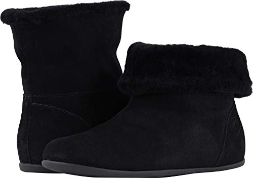 - FitFlopTM Womens Sarah&Trade; Shearling Slipper Booties (Suede), Black, Size 6