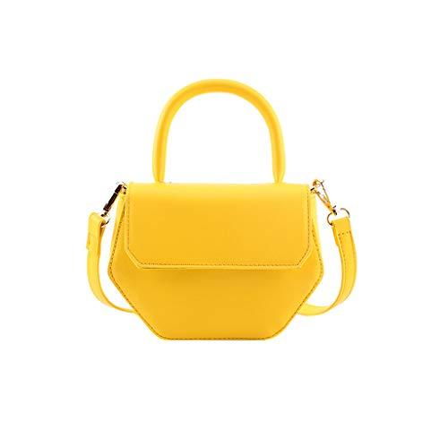 (LONGDAY  Women Sling Bag Mini Bag Polygon Casual Crossbody Bag Messenger Faux Leather Ladies Plain Bag Beach Handle Yellow)