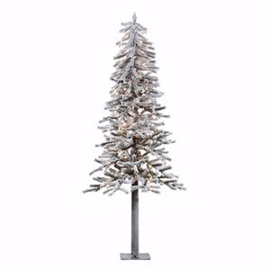 Flocked Alpine Tree - Vickerman 200-Piece Flocked Alpine Tree with Dura-Lit Light and 657 Tips, 6-Feet by 33-Inch, Clear