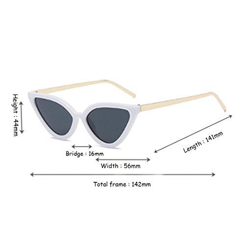 sol Negro Gafas sol Eye Cat Gris Retro Yefree de Vintage Blanco de para mujer Gafas Gafas w6cWqSn0RH