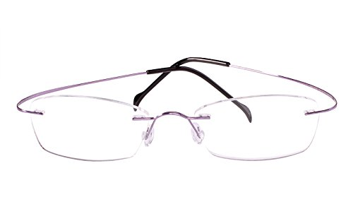 c1f135ff4f Agstum Pure Titanium Rimless Frame Prescription Hingeless Eyeglasses Rx  (Purple