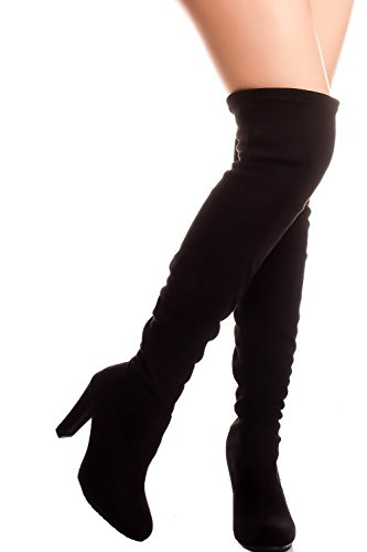 Forever Link Faux Suede Over Knee HIGH Heel Back Lace Boot 10 Black