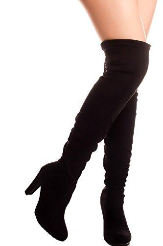 Voor Altijd Link Zijgesp Accenten Hoge Hak Laarzen Black-dasia-h1