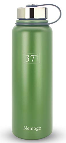 Floating Stainless Steel Bottle - Nemogo 37oz Stainless Steel Water Bottle - Double Walled, Vacuum Insulated, Wide Mouth, Sport Design Idea for Hiking, Camping, and Everyday Use Army-Green