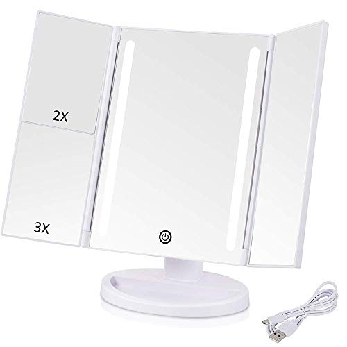 VIBELITE Vanity Makeup Mirror Trifold 24 Led Lighted with Touch Screen, 1x/2x/3x Magnification and USB Charging, 180° Adjustable Stand for Countertop Cosmetic Makeup