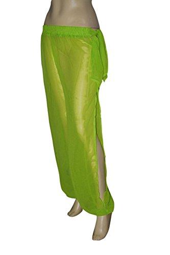 Genie Costume Lime Sheer Chiffon Harem/Yoga Pants with Side Slit Halloween