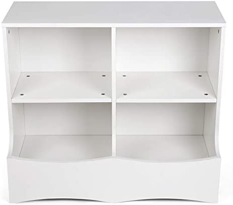 "amzdeal Toy Storage Organizer, Kids Playroom Storage with 2 Shelf and 1 Deep Bottom Bin for Books and Toys in The Playroom, Bedroom, Nursery, 31.5"" x W: 15.8"" x H: 27.6'', White"