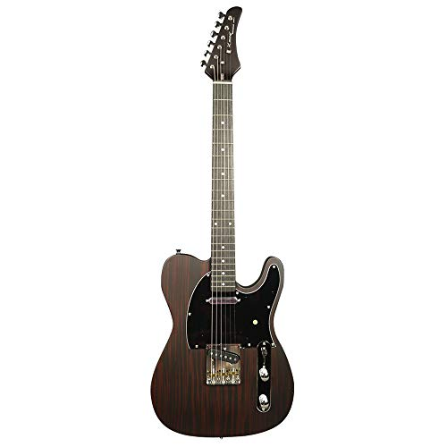 ZUWEI Solid Body Electric Guitar 6 Strings – Basswood Body with Rosewood Top Veneer, Canada Maple Neck, with Gig Bag and Cable (Fixed Bridge)