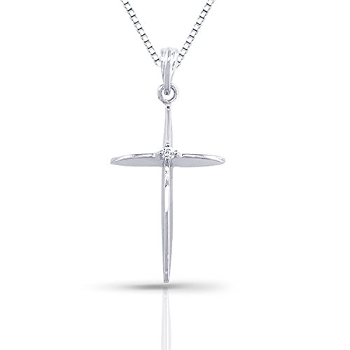 10k White Gold Round-cut Diamond Cross Pendant (0.03 cttw)