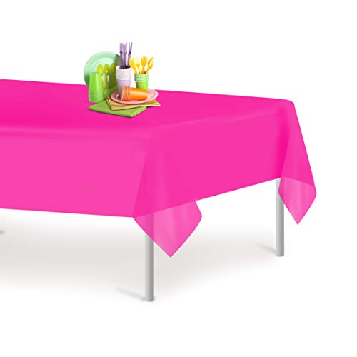 Hot Pink 6 Pack Premium Disposable Plastic Tablecloth 54 Inch. x 108 Inch. Rectangle Table Cover By -