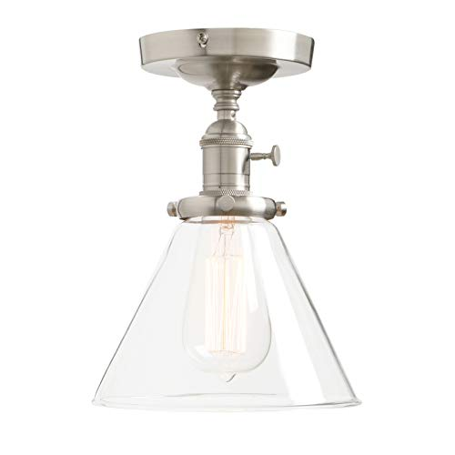 Permo Vintage Industrial Semi Flush Mount Ceiling Light Fixture Pendant Lighting with Funnel Flared Clear Glass Shade (Brushed)