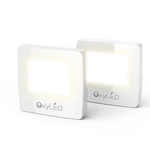 OxyLED N01 LED Night Light with Dusk to Dawn Sensor, Plug-In LED Night Lights for Bedroom, Bathroom, Hallway, Stairways(2-pack)