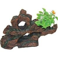 POPPY PET Ym-928B Stone Rock Formation with Plant, Brown