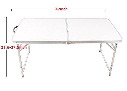 ポータブルアウトドアホワイトLongセンター折りたたみピクニックテーブルwith Two椅子230538 B018LLBJXG