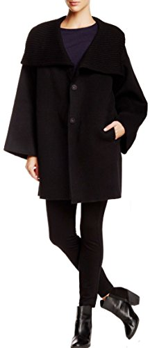 (Eileen Fisher Womens Wool Funnel Neck Coat (Small, Black))
