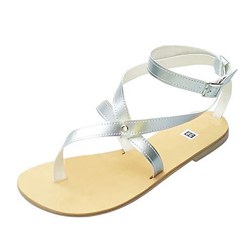 NEEKEY Women Flat Sandal Fashion Buckle Round Toe Roman Style Casual Ankle Strap Beach Shoes ()