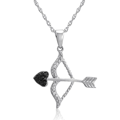Black and White Diamond Bow and Arrow Pendant-Necklace in Sterling Silver (Bow Silver Pendant)
