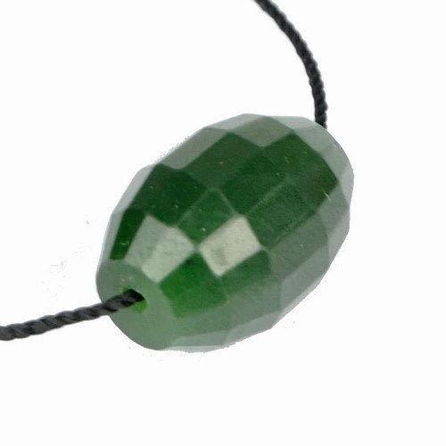 - FidgetKute Faceted Natural Green Nephrite Barrel Bead Pendant Show One Size