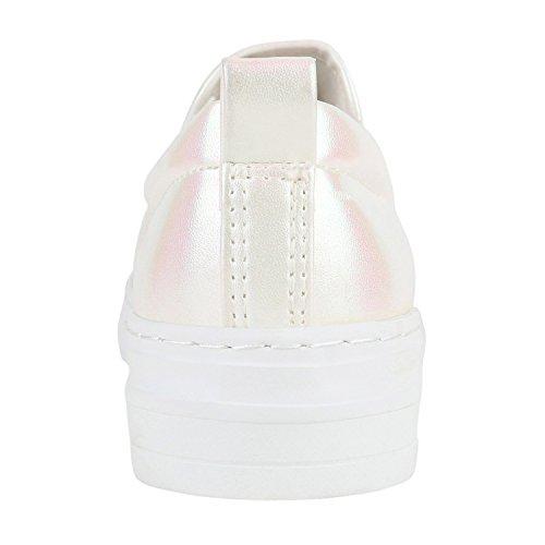 Stiefelparadies Damen Sneaker Slip Ons mit Plateau Glitzer Flandell Rosa Weiss Metallic