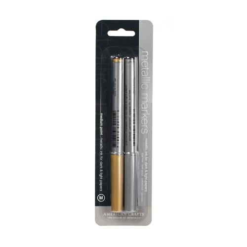 AMERICAN CRAFTS Metallic Markers 2-Pack, Gold/Silver (American Marker Crafts Metallic)