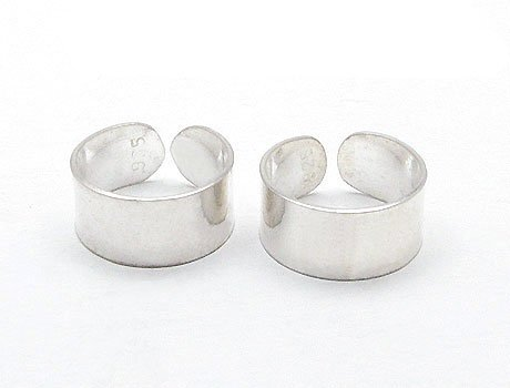Sterling Silver Plain High Polish Huggie Ear Cuff Pair (High Polish Cuff)