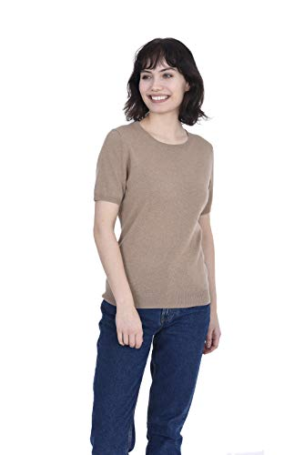 Camel Sweater Crewneck Cashmere - Cashmeren Women's 100% Pure Cashmere Short Sleeve Knitted Crew Neck Sweater (Camel, Medium)