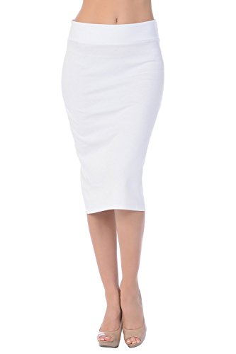 (Jubilee Couture Womens Ponte Roma Midi Mid Below Knee Pencil Skirt For Work-Ivory,Medium)