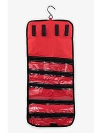 Containers By Aline - Joyero enrollable para viaje- Joyero portátil - organizador para joyas aretes, collares, anillos fáciles de llevar Color Rojo