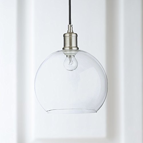 Clear Glass Round Pendant Light Fixtures - Boo Globe Shaped Overhead Light - Island Pendant Light with Brush Gunmetal Housing - By Capella Clear Crystal Mini Pendant