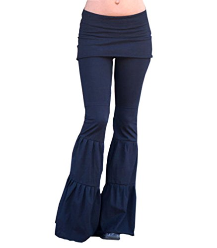 Women Sexy Bodycon Stretch Yoga Pants Ruffle Bell Bottom Wide LegFlare Pants Trouser (Black, XL)