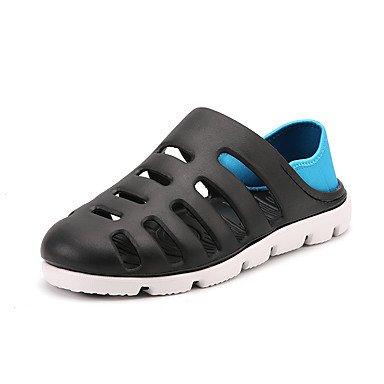 Los hombres Sandalias Primavera Verano Zapatos agujero exterior de goma Office & amp; Carrera Casual talón plano azul gris negro Talla 39–