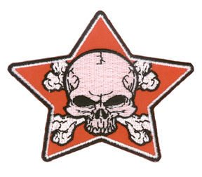 Aftermath Hat - Aftermath Artist Novelty Iron On Patch - Dead Skull w/ Crossbones in Red Star Applique
